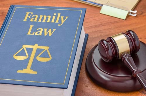 Family Law legal book with judget gavel on it.